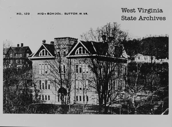 Front of Sutton High School. Photo Courtesy of the West Virginia State Archives.
