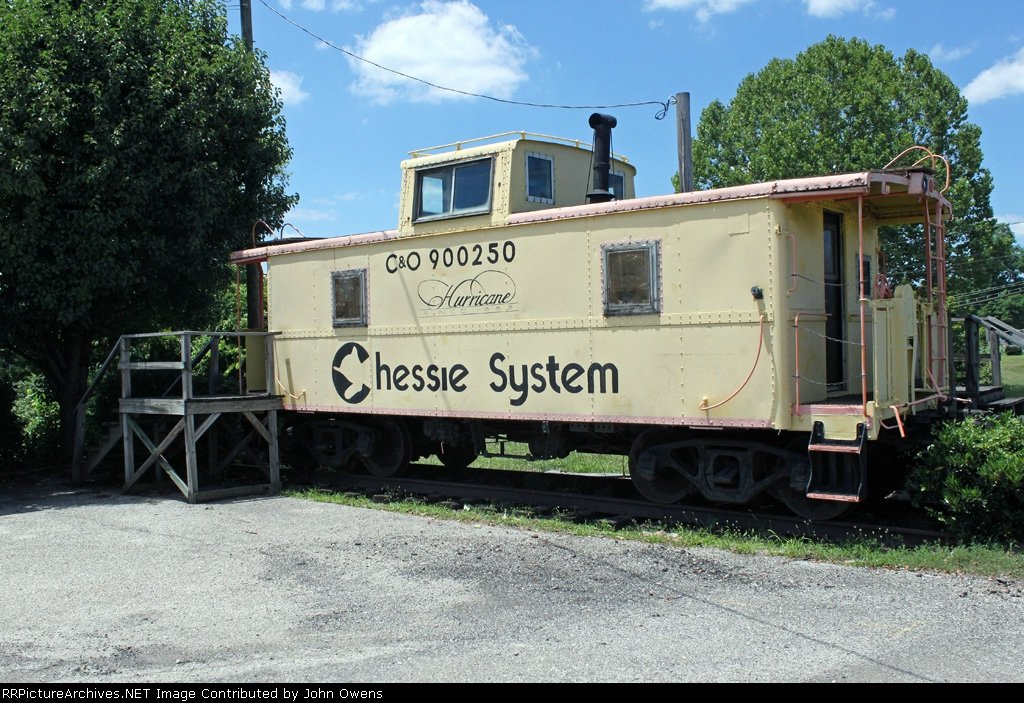 For many years the caboose sat near the Hurricane Fire Department on Main Street. The yellow paint and iconic cat logo are from when the C&O Railway became the Chessie System in the 1970s. Image obtained from RR Picture Archives.net.