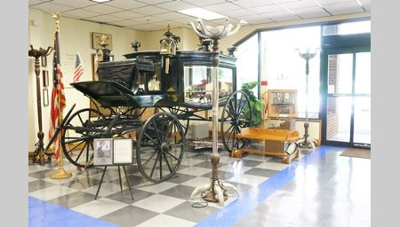 An 1860 funeral hearse believed to have carried Abraham Lincoln's body.