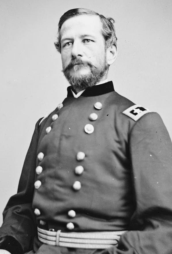 Union General Alfred Pleasonton, who attacked Price at Mine Creek. He commanded the cavalry of the Army of the Potomac earlier in the war, including the forces that defeated Confederate JEB Stuart at Brandy Station in the days preceding Gettysburg.