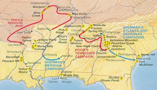 A National Park Service map showing the route of Price's Raid (upper left) and other 1864 campaigns in the Western Theater.