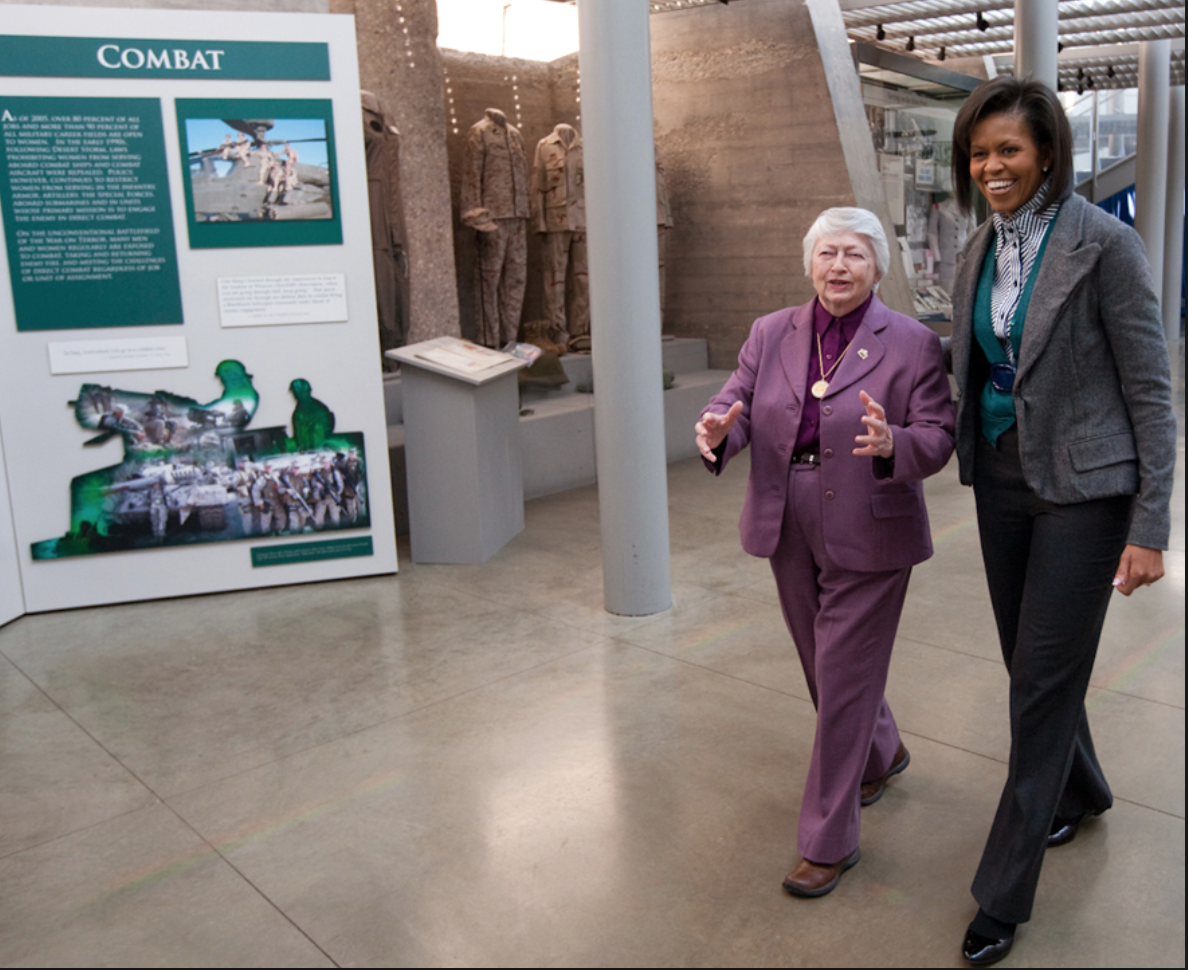 First Lady Michelle Obama touring Women in Service for America Memorial with foundation president Brig. Gen. Wilma Vaught