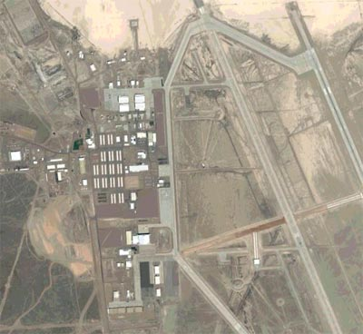 This is a satellite picture of Area 51. This facility has grown a lot in the past few decades and it now includes a bar, many places for employees to live, and a baseball diamond for recreational activities.