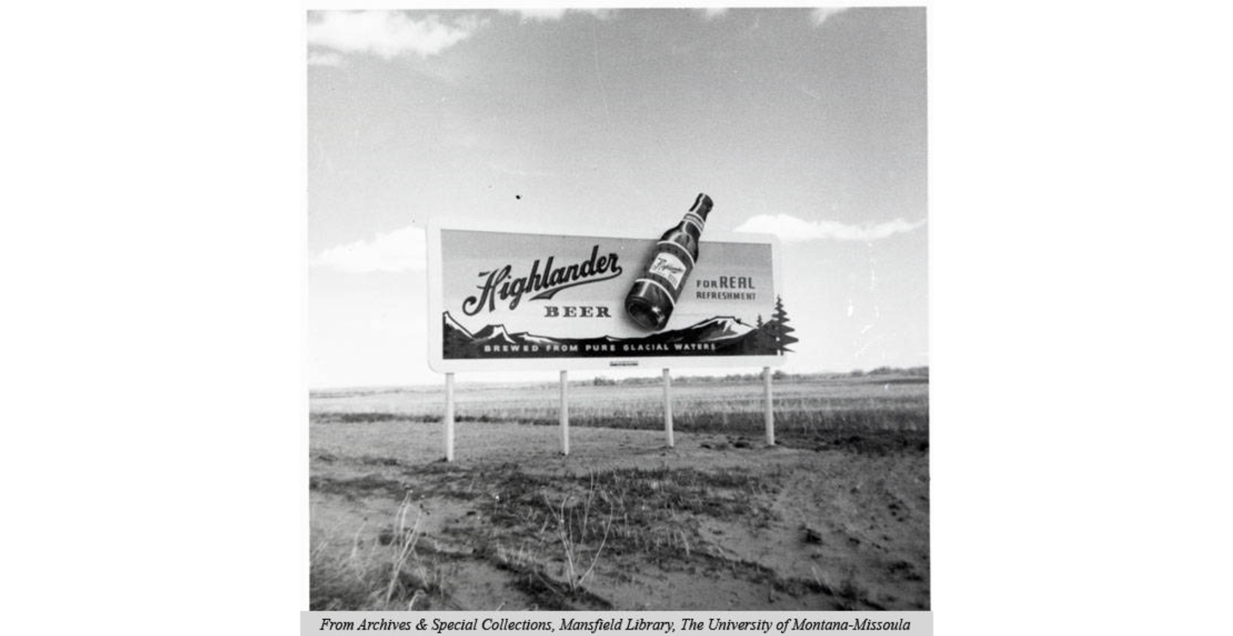 Billboard for Highlander Beer circa 1960