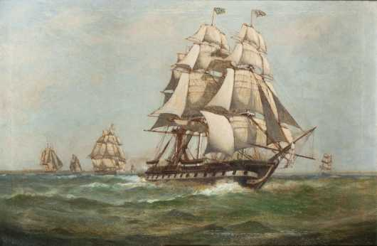 C. Myron Clark, 1858-1925, oil painting of the USS Constitution escaping the British