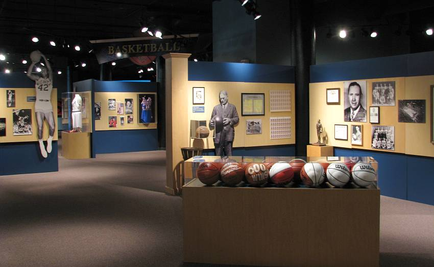 The view from outside the Basketball section of the Kansas Sports Hall of Fame. Notable inductees in this section of the Hall include Adolph Rupp and Wilt Chamberlain.