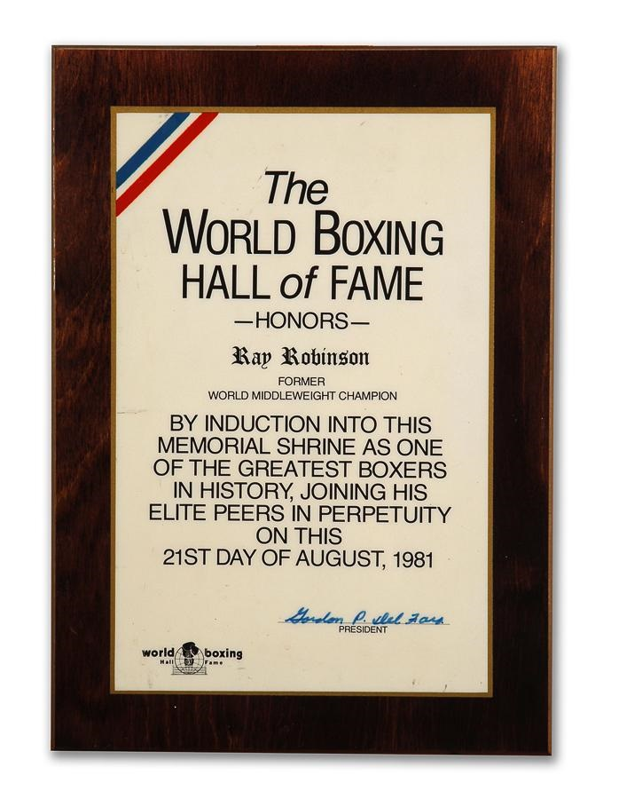 Robinsons' World Boxing HOF Honors Plaque