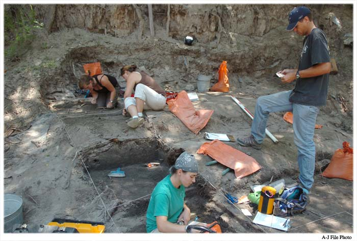 Archaeologists working to excavate a site