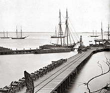 Union Warships off City Point's docks. Circa 1864-1865