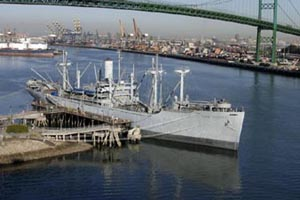 The SS Lane Victory docked in San Pedro California.