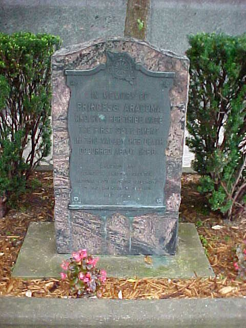 "The Princess Aracoma Memorial located at the Logan County Courthouse.  The monument reads ""In Memory of Princess Aracoma who with her tribe made the first settlement in this valley. Her death occurred about 1780.″"