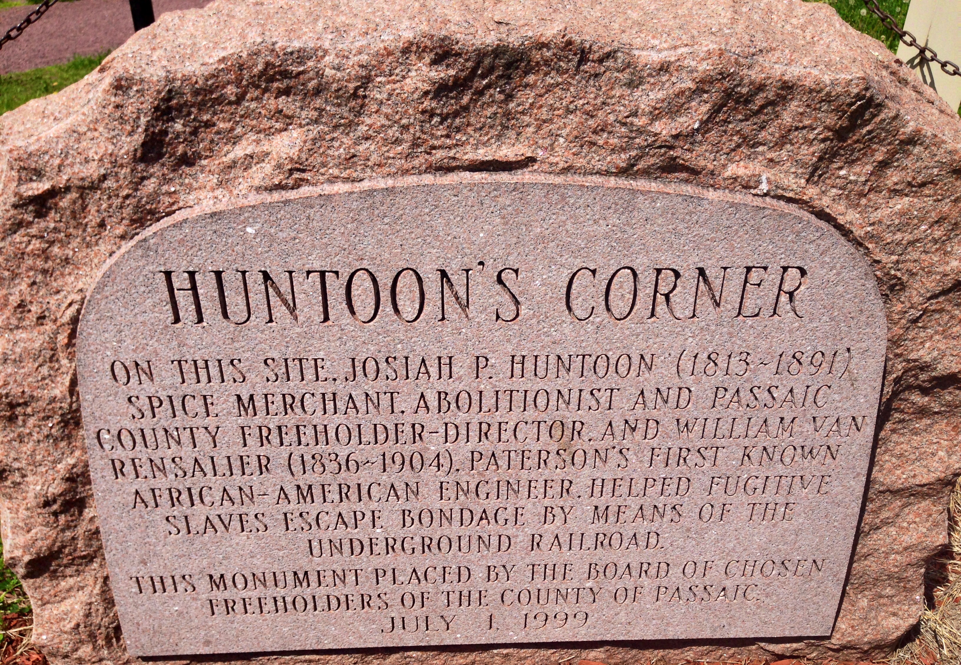 Prior to the current monument, this stone marked the location of the factory where Huntoon and Van Rensalier helped runaway slaves.