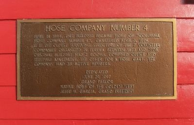Historical plaque placed on the the Hose Company No. 4 Firehouse building in 1997