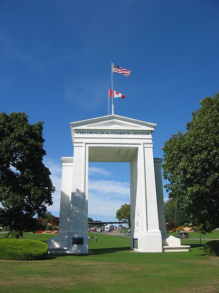 Built in 1921, the Peace Arch is large 67-foot monument commemorating the peace between the U.S. and Canada.