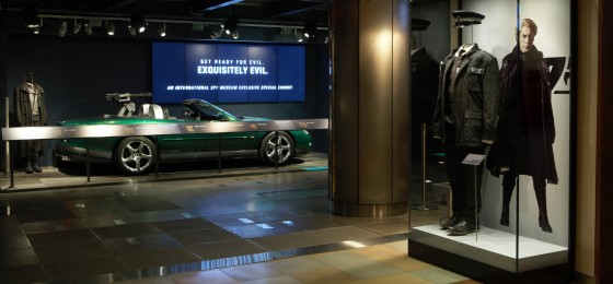 "A photo of the museum's current exhbit ""Exquisitely Evil: 50 Years of Bond Villains."""