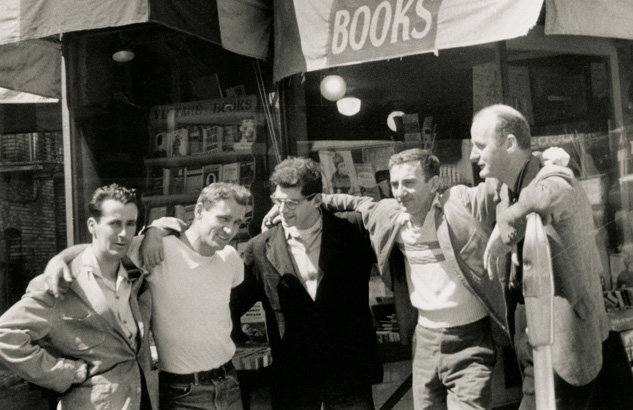 Bob Donlin, Neal Cassady, Allen Ginsberg, Robert Lavigne, and Lawrence Ferlinghetti outside of City Lights in 1955.