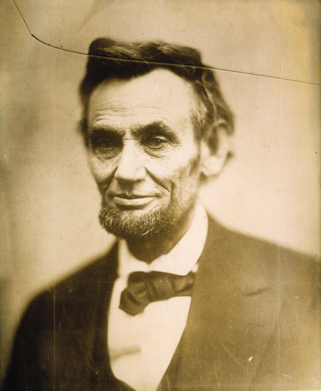 Abraham Lincoln was the first American president to have his image circulated through photography. In February 1865, Alexander Gardner captured this portrait, which was printed from a glass negative on light sensitive paper. It was the only print mad