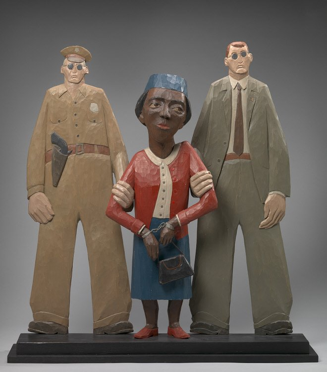 Rosa Parks's act of civil disobedience challenged the laws and culture of segregation. She is depicted here in sculpture by Marshall D. Rumbaugh. Courtesy of the National Portrait Gallery.