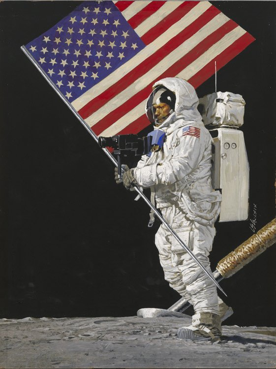 "Neil Armstrong took one ""small step"" on the Moon and into the history books on July 20, 1969. This painting by Louis Glanzman was one of Time magazine's most popular covers. Courtesy of the National Portrait Gallery."