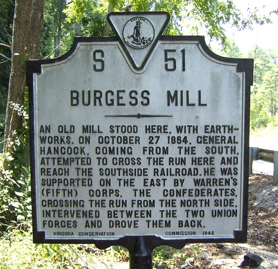 "Historical Marker for the battle, using the name of the battle most commonly used, ""Burgess Mill"""