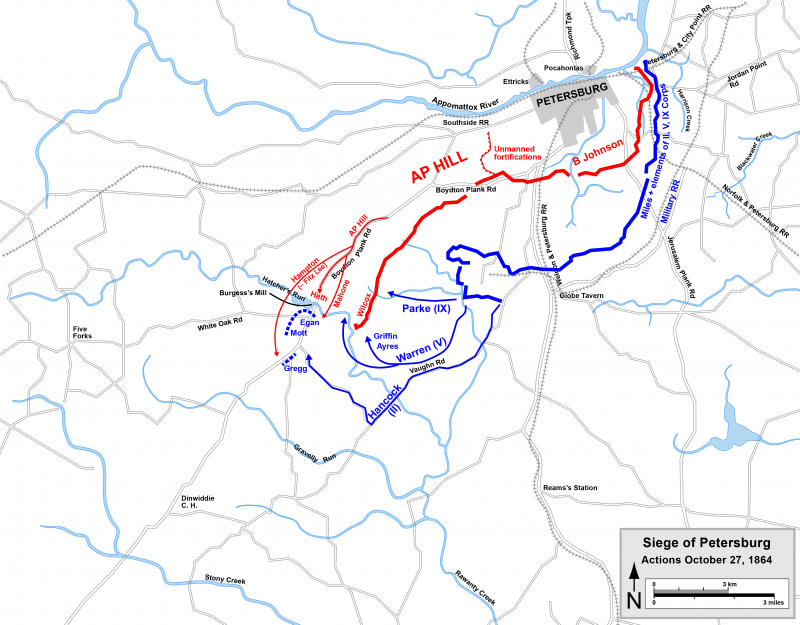 Map depicting the movements of the Union assault