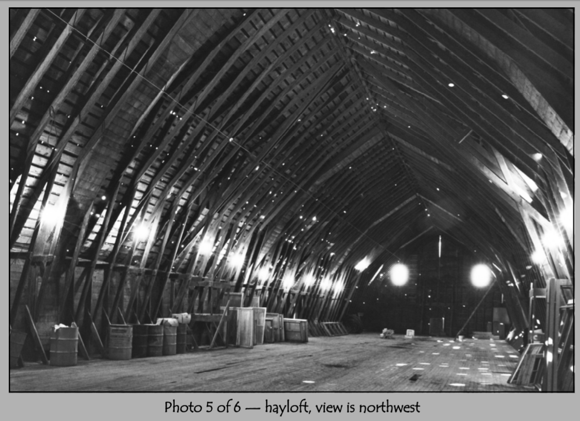 The hayloft in 2001.  The hayloft has been renovated to host wedding ceremonies.  This picture has been modified from its PDF format.