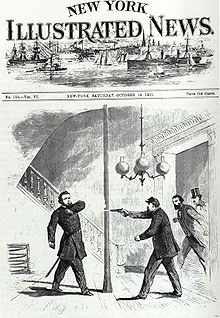 A depiction of the Nelson shooting.