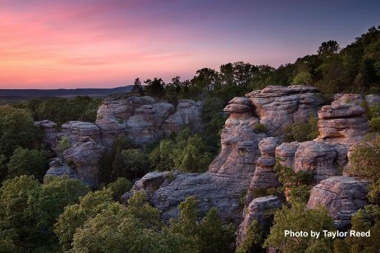 The stunning rock bluffs at sunset