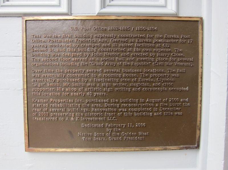 Historical plaque on Eureka's original U.S. Post Office Building