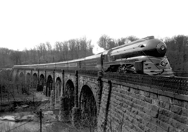 The Royal Blue passenger train crossing the viaduct in 1937.