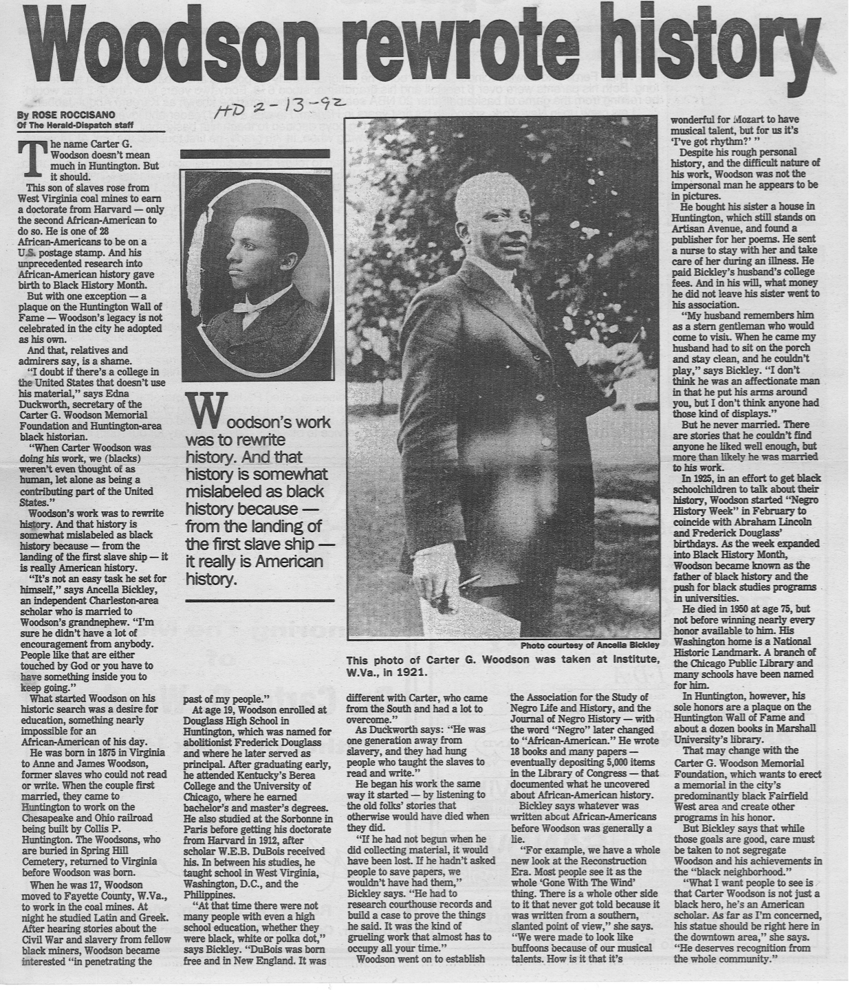 "Roccisano, Rose. ""Woodson Rewrote History."" The Herald Dispatch 13 Feb. 1992. Print.