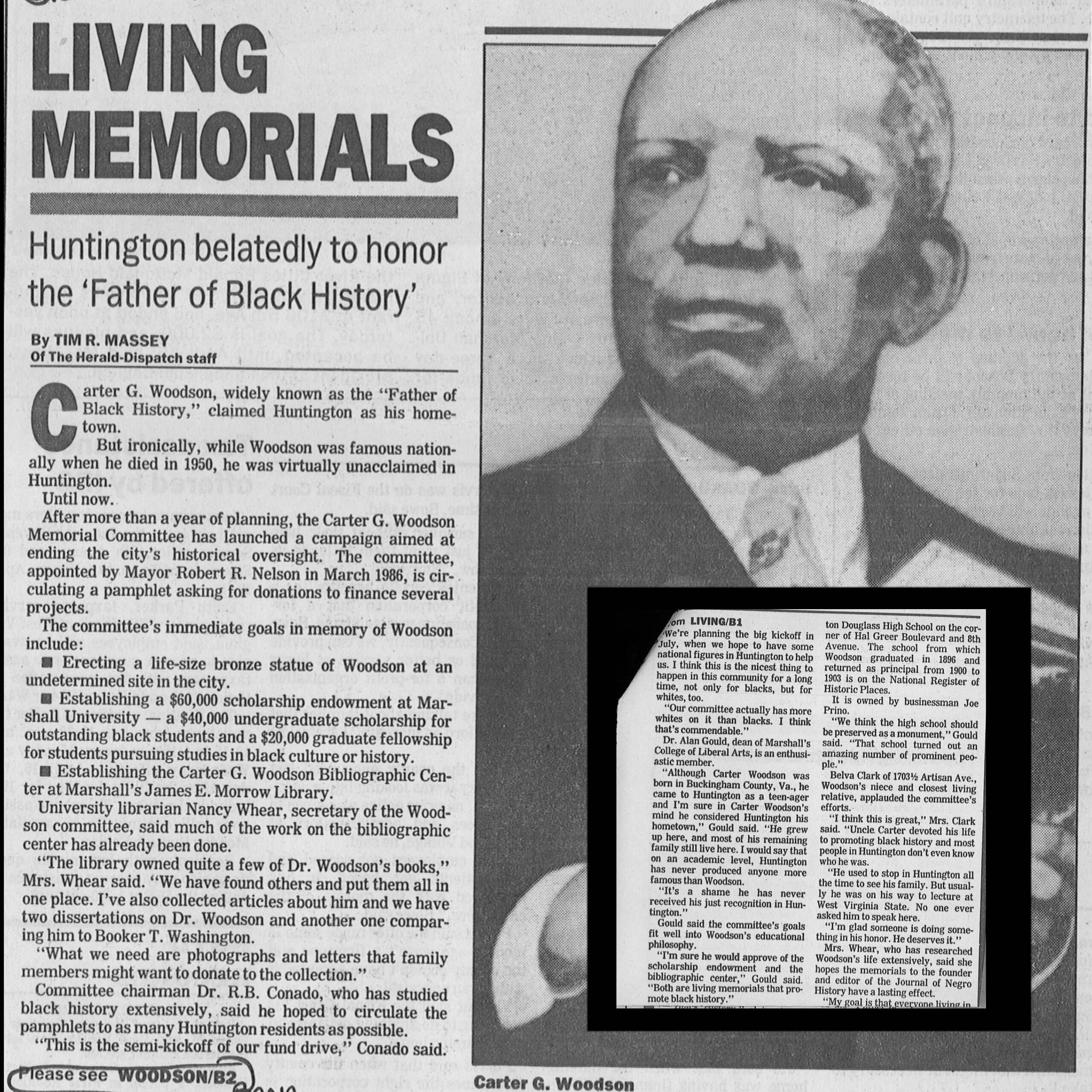 "Massey, Tim R. ""Living Memorials."" The Herald Dispatch 6 Apr. 1987: 1-2. Print.