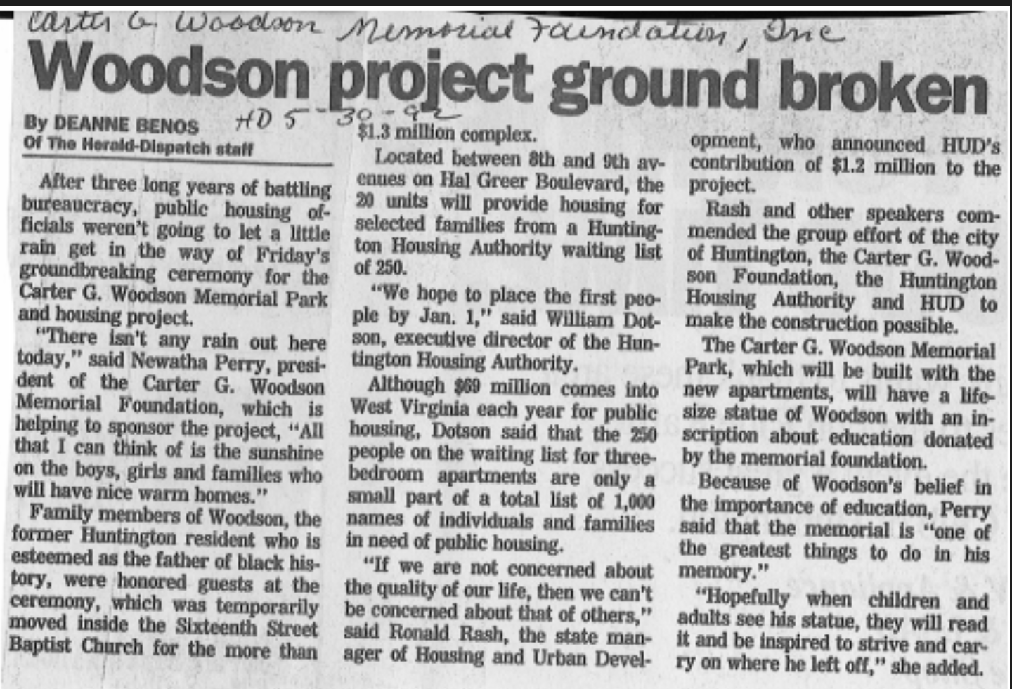 "Benos, Deanne. ""Woodson Project Ground Broken."" The Herald Dispatch [Huntington] 30 May 1992: n. pag. Print. Marshall University Special Collections."