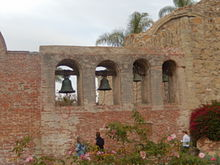Bells at Mission San Juan Capistrano. Local legend claims that once, upon the death of an Indian woman of the mission, the bells rang of their own accord.