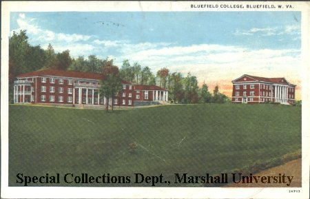 1934 color postcard of Bluefield College