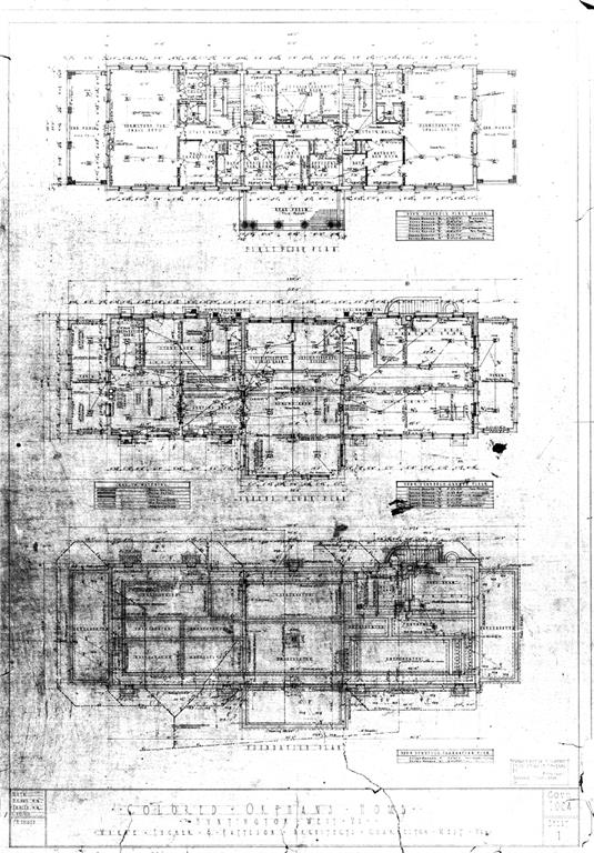 One of three architectural drawings for original home.