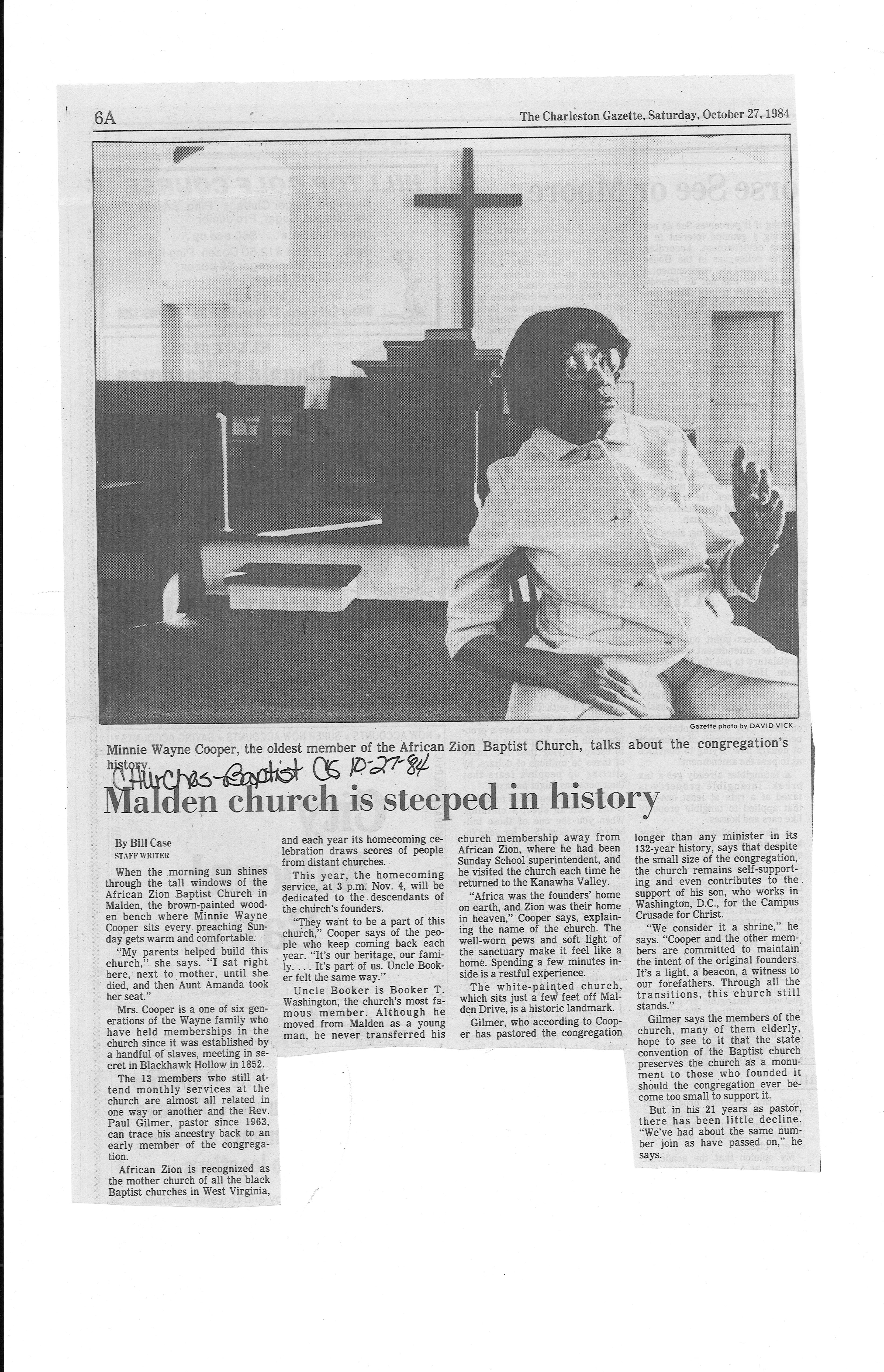 1984 article on church, Courtesy of Marshall Special Collections