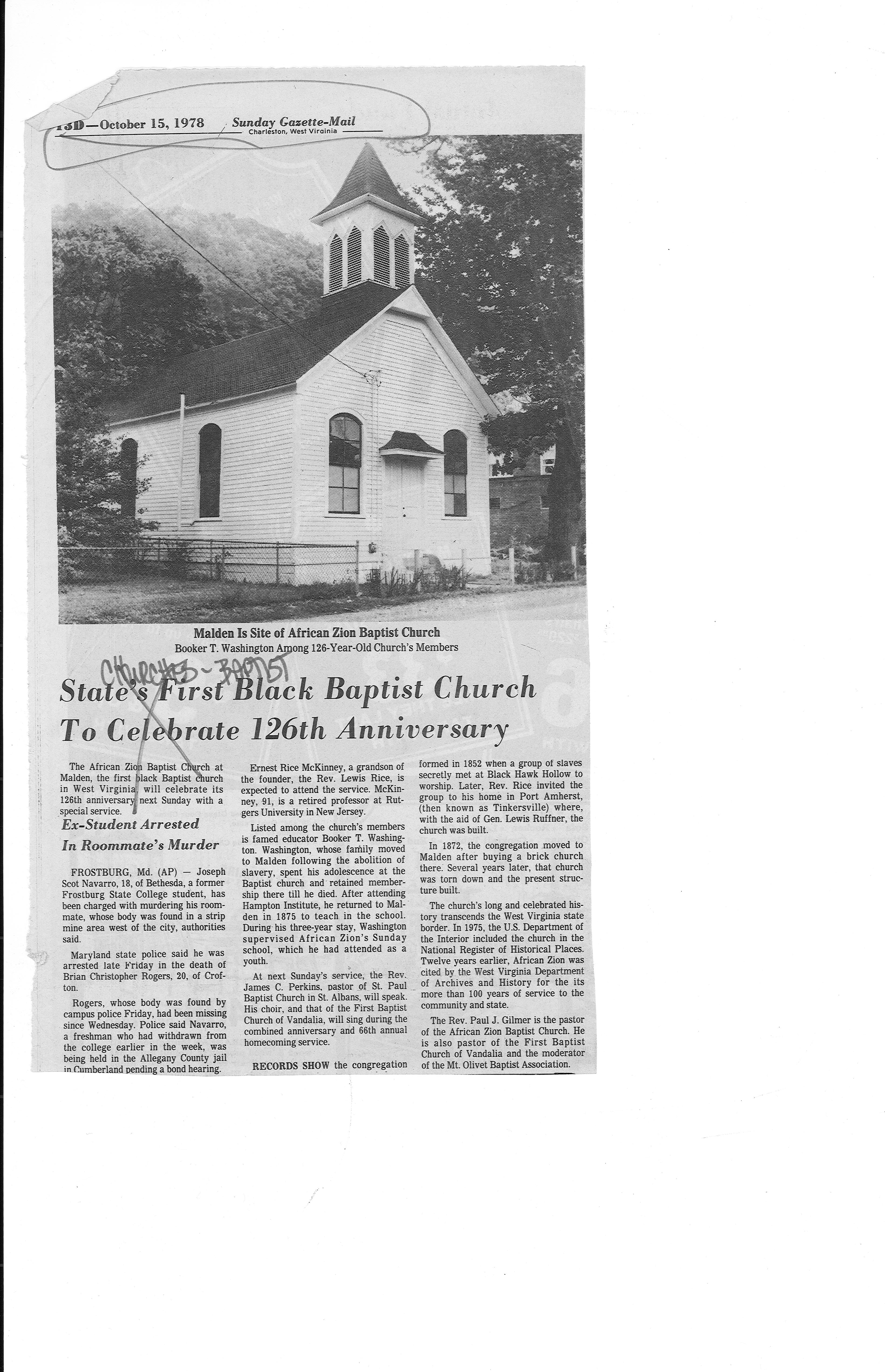 1978 article on church. Courtesy of Marshall Special Collections