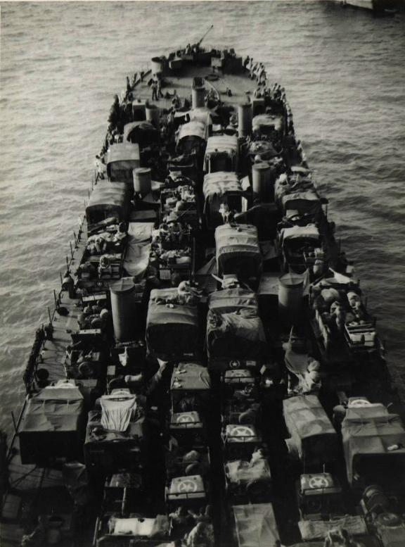 Historic photo of the LST-325 loaded up for the invasion of Sicily