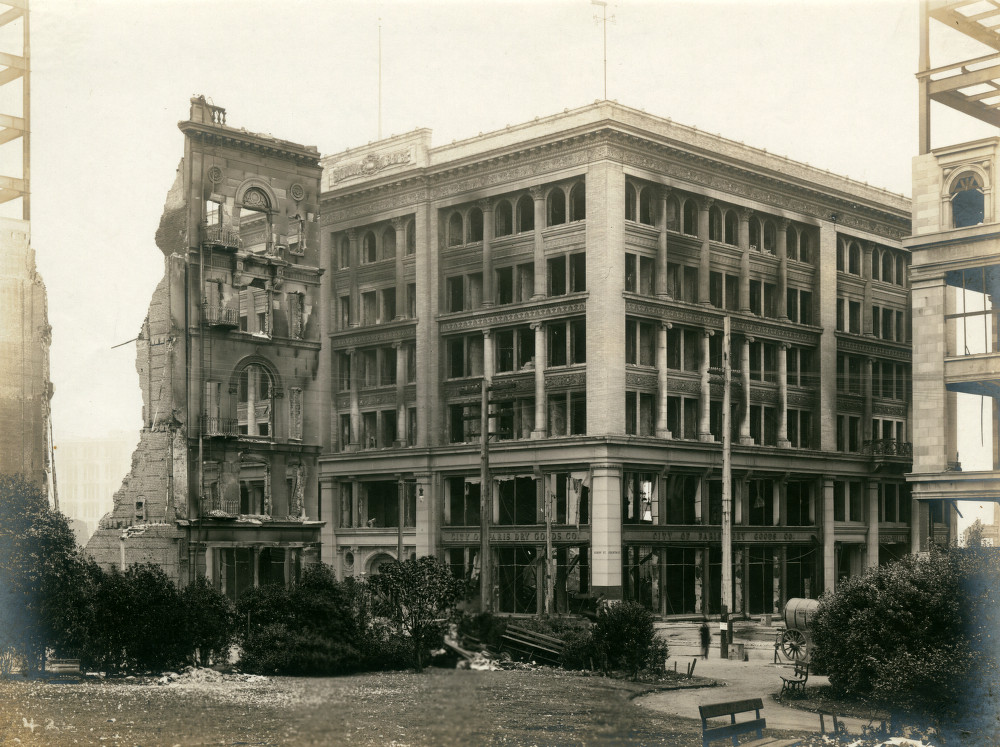 This photo was taken shortly after the earthquake of 1906. While the damage to the building is apparent, many surrounding buildings were completely destroyed.