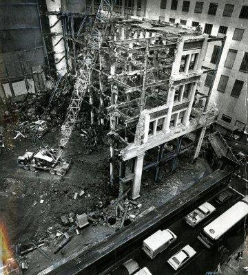 The destruction of the building in 1981.