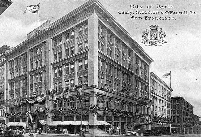 The City of Paris reopens in 1909. The company redesigned the store following the San Francisco Earthquake, adding the signature rotunda and stained glass dome that has been incorporated into the current desing of the Neiman Marcus store.