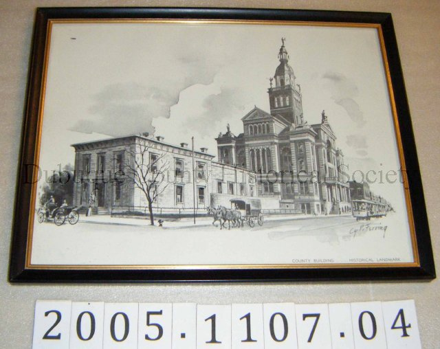 "Print, Black and white print titled ""County Building Historical Landmark."" Print features a view of the county courthouse and old jail from the street. Courtesy of the National Mississippi River Museum Accession: 2005.1107.04"