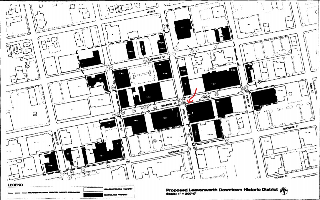 AXA Building (red arrow) on map of Leavenworth Downtown Historic District (Schwenk and Davis 2001)