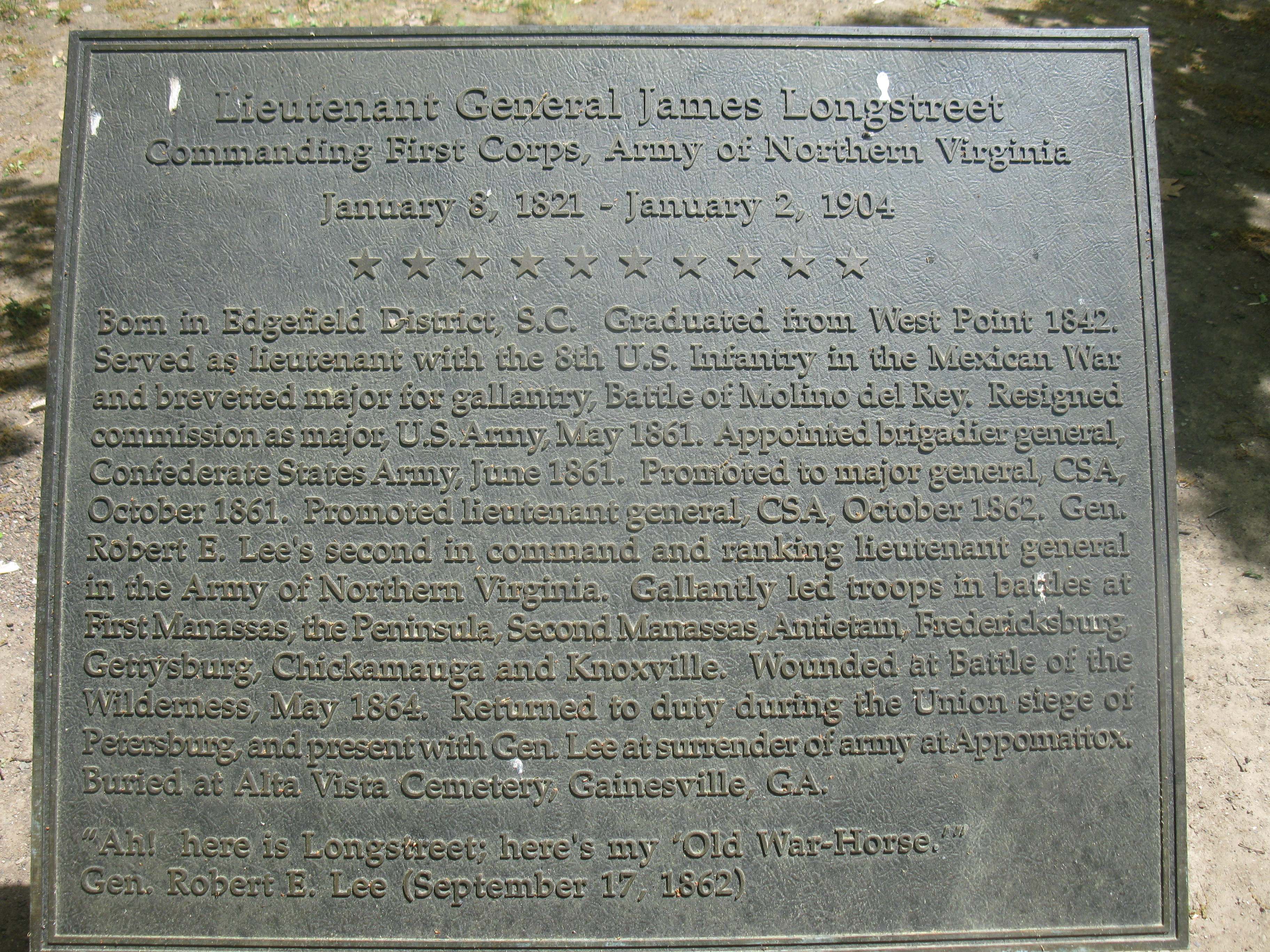 Plaque at General James Longstreet Memorial