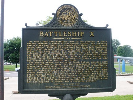 This historical marker provides a brief history of the USS South Dakota.