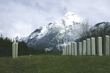 The cemetery's amazing view of Mount Verstovia.