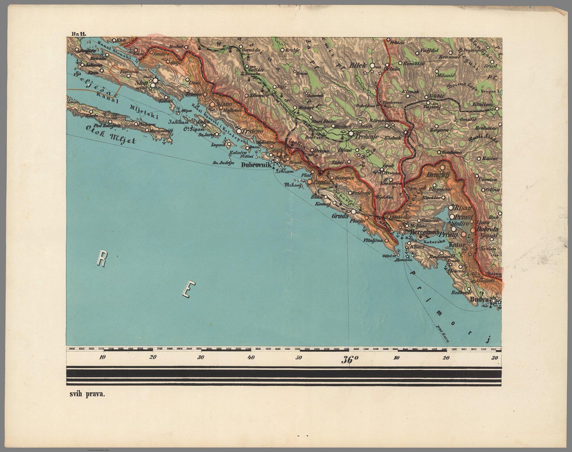 Old map showing Dubrovnik