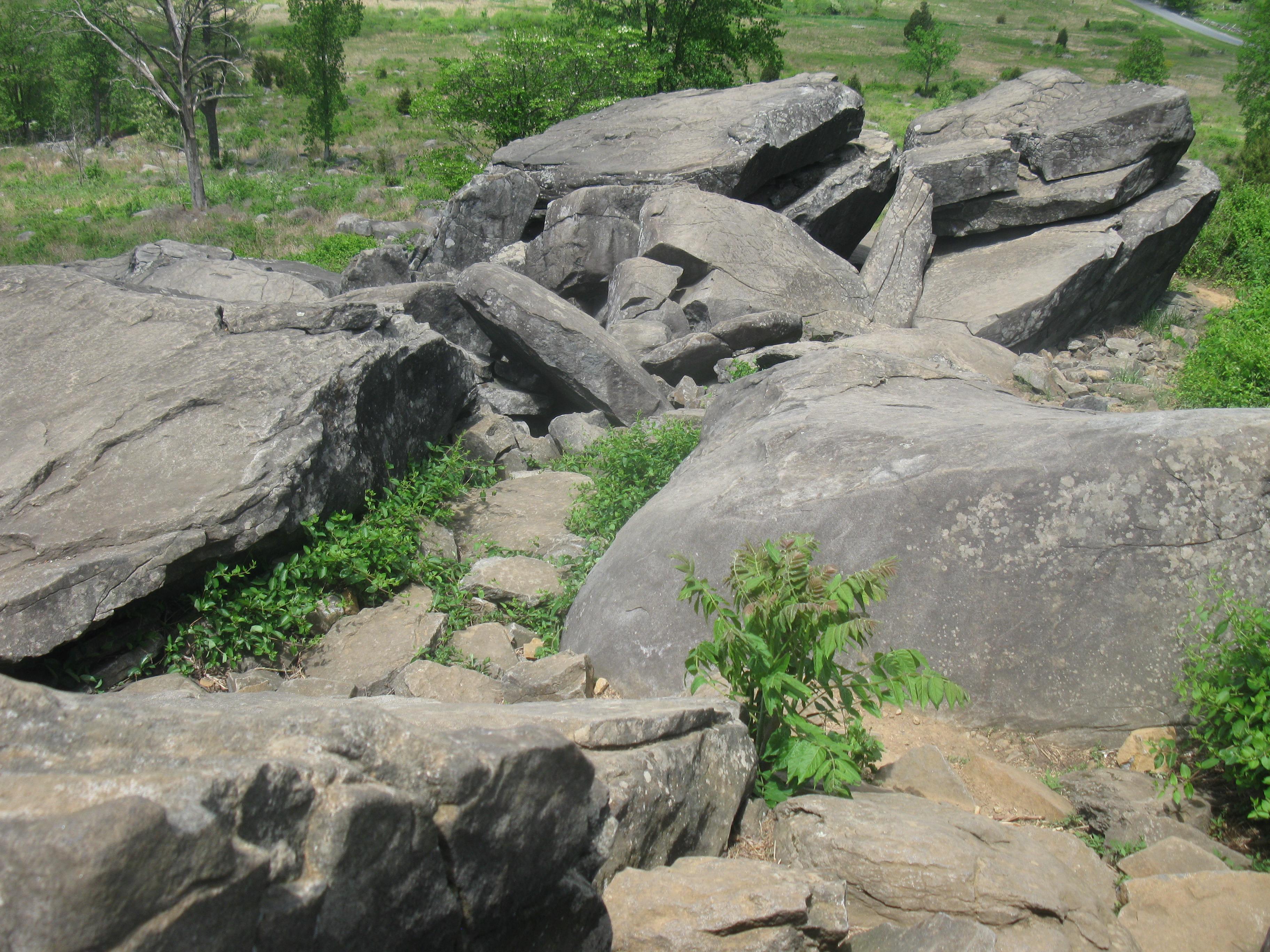 Little Round Top looking down into the area of Devil's Den