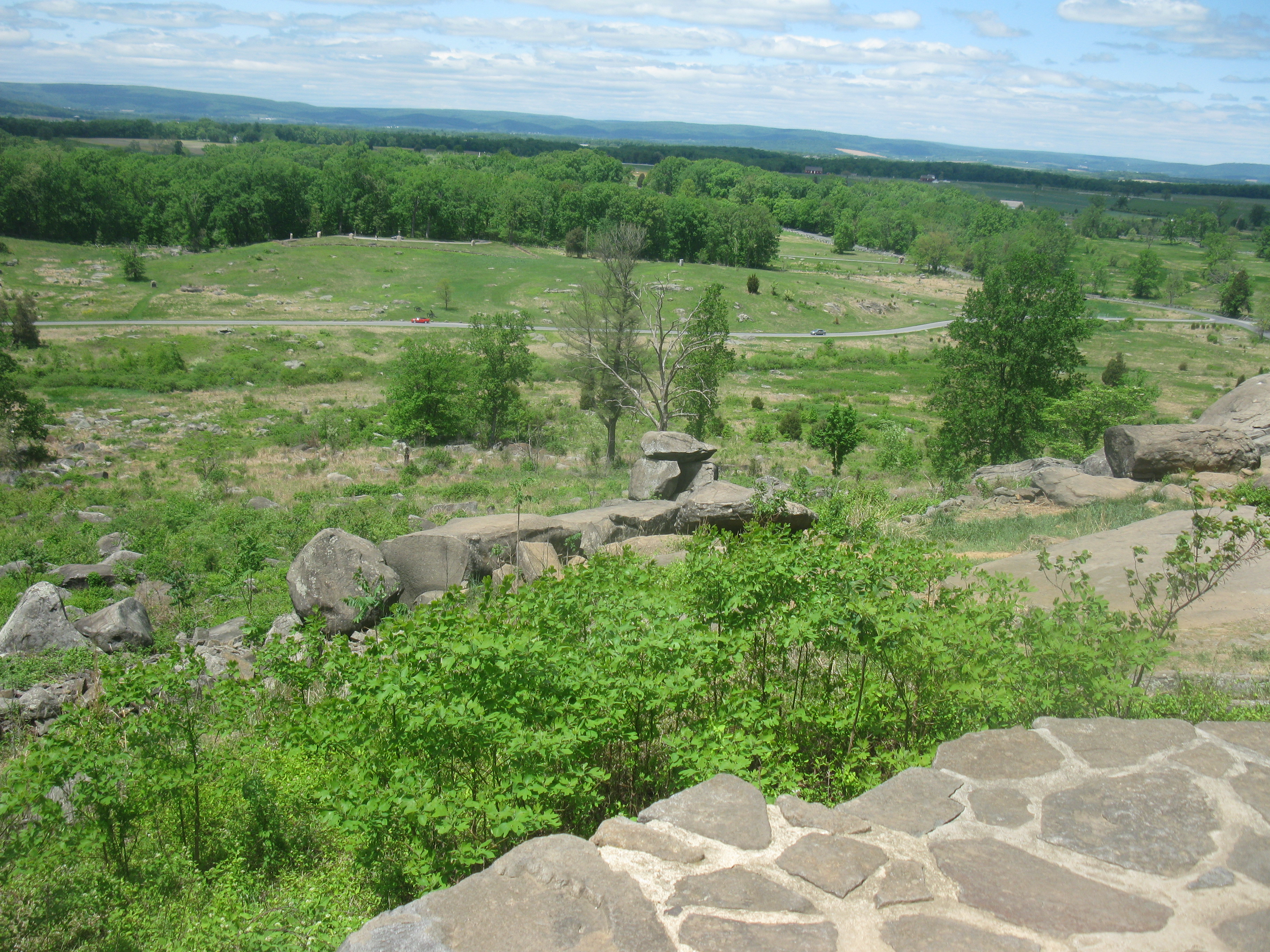 Little Round Top overlooking the wheat field and peach orchard